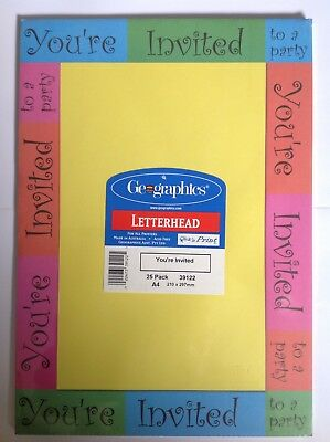 A4 Kids Party Invitations 25 Sheets Perfect Party Invitations *SEE OUR EBAY SHOP