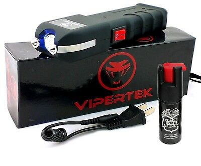 VIPERTEK VTS-989 - 180 BV Rechargeable LED Heavy Duty Stun Gun + Pepper Spray