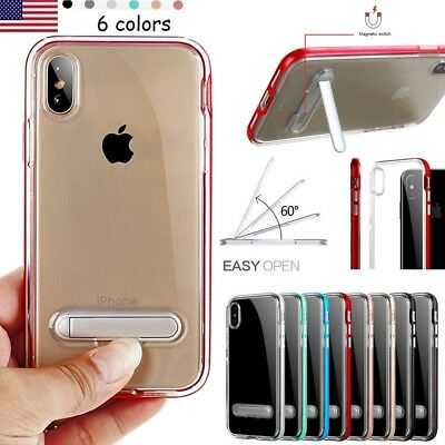 For iPhone X 10 8 7 6S 6 Clear Bumper Silicone Case Cover With Kick-Stand 2018