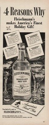 1945 Fleischmann's Dry Gin Ad Americas Finest Holiday Gift Martini Glasses Photo