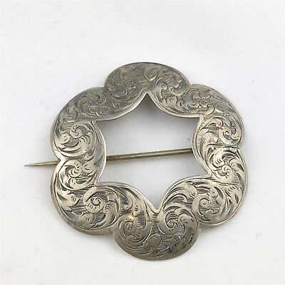 Antique Victorian Solid Silver Stunning Large Ladies Pin Brooch