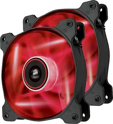 Corsair Air Series SP120 RED LED High Static Pressure 120mm Case Fan Twin Pack