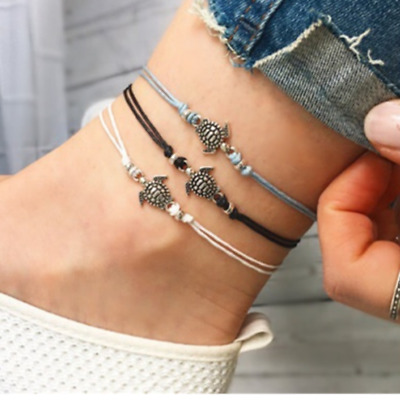 BOHO Womens Charms Leather Bracelet Turtle Pendant Ankle Anklet Fashion Jewelry