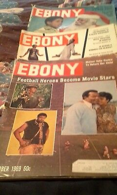 Ebony magazines 1969, collection of 3 issues, most in very good condition