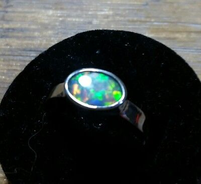 handcrafted black opal ring . 925 Sterling silver.  Solid opal.  Size 6