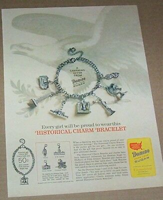 1965 print ad -Domino Sugar & Historical Charm Bracelet vintage Advertising Page