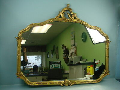 Vintage Antique Large Gold Gilt Ornate Victorian Style Mirror with Wheat Pattern