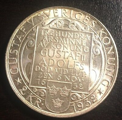 1932G Sweden 2- Kronor Silver Coin