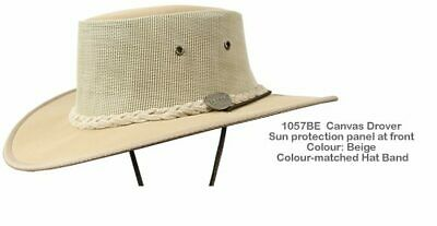 Barmah 1057 BE Beige Canvas Drover Airflow Hat