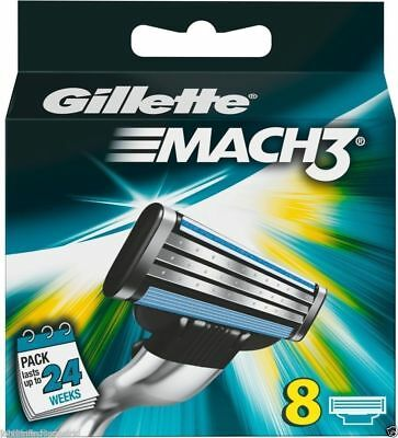 Gillette Mach 3 Cartridge Razor Blades Shaving Genuine Mach3 40/24/16/8 New Stok