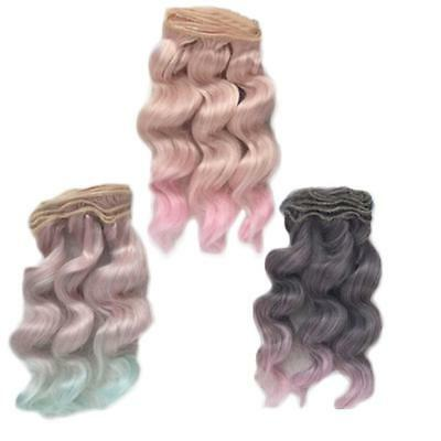 5.9 inc Long Colorful Ombre Curly Wave Doll Wigs Synthetic Hair For Dolls