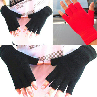 1Pair New Mens&Womens Soft Warm Fingerless Half Fingers Knitted Mitten Gloves