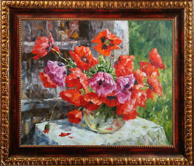 "Hand-painted Original Oil Painting still life art knife Floral on canvas 20""x24"""
