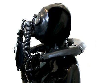 Latex Gum mi Maske Gasmaske  Full-Black-Style-Look f. Demask-Studio-Party nP369e