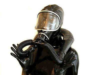 Latexmaske Studio Gasmaske Gum mi fuer Demask-Party im full-black-Style eKP329EU