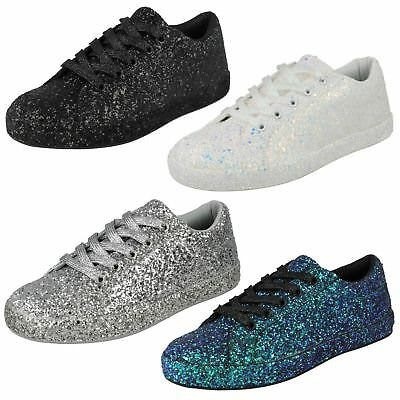 Spot On Ladies Glitter Trainers