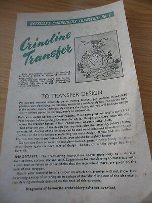 Rare Vintage Embroidery Transfer Crinoline Lady Unused Given With Reveille News