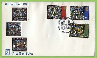 G.B. 1971 Christmas set on Cameo u/a First Day Cover, Canterbury