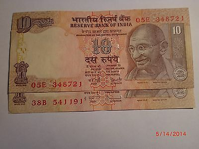 - INDIA PAPER MONEY - 2  'MG'  NOTES - RUPEES 10/- 2008-TWO SIGNATORIES# E10c