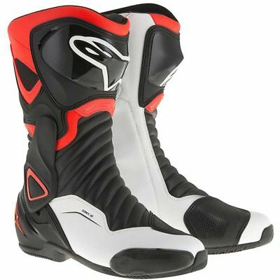 Alpinestars SMX-6 V2 Black / Fluo Red / White Moto Motorcycle Boots | All Sizes