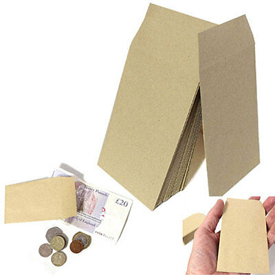 SMALL BROWN ENVELOPES 100x62mm DINNER MONEY WAGES COIN TUCK POCKET SEEDS BEADS