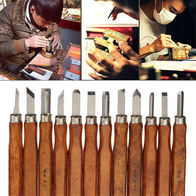 12 Set Carbon Steel Wood Carving Tools Knife Kit Beginners SK5 Hand Chisel Tool