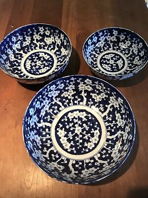 Three Vintage Blue And White Floral Chinese Bowls