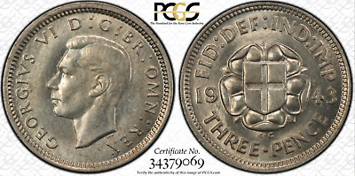 1943 THREEPENCE - 3D - Great Britain - UK - PCGS MS63 - SILVER - HARD TO LOCATE