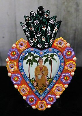 Frida Kahlo painting for Trotsky Folk Art Peru Hand Painted Tin Milagro Ornament