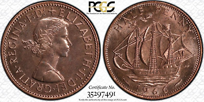 1966 HALF PENNY - 1/2D - Great Britain - UK - PCGS GENUINE