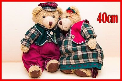 Teddy Teddybär AntikerBear Antique bear with national costume 40cm Oma und Opa