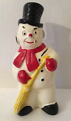 ⛄️Vintage 1950'S A.N. Brooks Chalkware Carnival Snowman Christmas Still Bank ⛄️