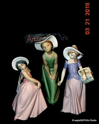 "3 lot Vintage Lladro ""Girls with Hat Collection"" figurines,5009,6489,6276 MINT"