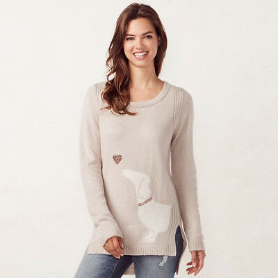 Lauren Conrad Silvery Heather Sweater with Dachshund and Sequined Heart x-small