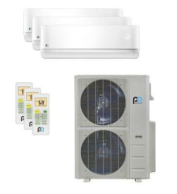 Perfect Aire 48,000 BTU 21.5 SEER Tri Zone Heat Pump Wall Mounted