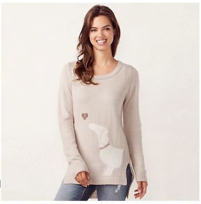 Lauren Conrad Silvery Heather Sweater with Dachshund and Sequined Heart Medium