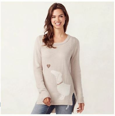 Lauren Conrad Silvery Heather Sweater with Dachshund and Sequined Heart / Small
