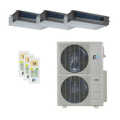 Perfect Aire 48K BTU 21.5 SEER Tri Zone Heat Pump Concealed Duct