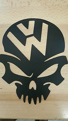 VW skull logo emblem metal wall art plasma cut decor volkswagen gift idea