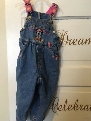 VINTAGE TODDLER GIRL MICKEY & CO. MINNIE MOUSE DENIM  OVERALLS SIZE 18month