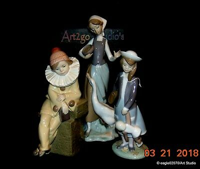"3 lot Vintage Lladro figurines ""Girl with Duck,Lttle Jester,& Autumn"" MINT"