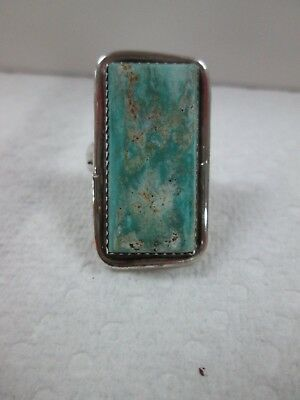 New Native American Turquoise Stone Sterling Silver Ring Sz 8 Navajo