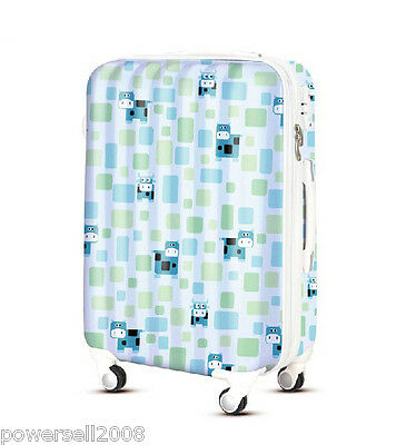 "28"" New TSA Lock Universal Wheel Blue Cows Print ABS+PC Travel Suitcase Luggage"