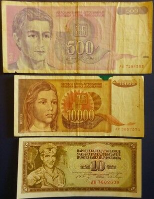 Yugoslavia Lot of 3 Banknotes
