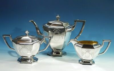 Antique American 3 Piece Silver Plated Tea Service by Homan Manufacturing Co