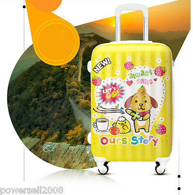 "28"" New Cartoon Dog Universal Wheel Yellow ABS+PC Travel Suitcase Luggage LLX"