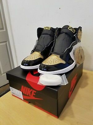 Nike Air Jordan 1 High OG NRG Gold Toe Black 861428 007 SZ 10