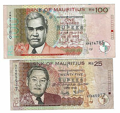 Mauritius 25 and 100 Rupees 1999 (B132)