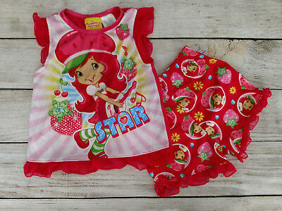 STRAWBERRY SHORTCAKE 2 PIECE PAJAMA SET SIZE 4T Toddler Girls PJ's Cute Summer