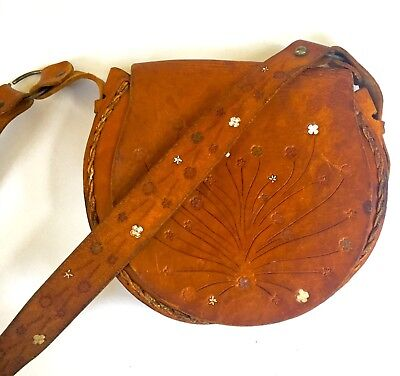 Vintage hand tooled leather purse handbag boho hippie bag